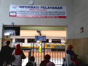 This 'Service Information' banner was pasted over the gate for check-in